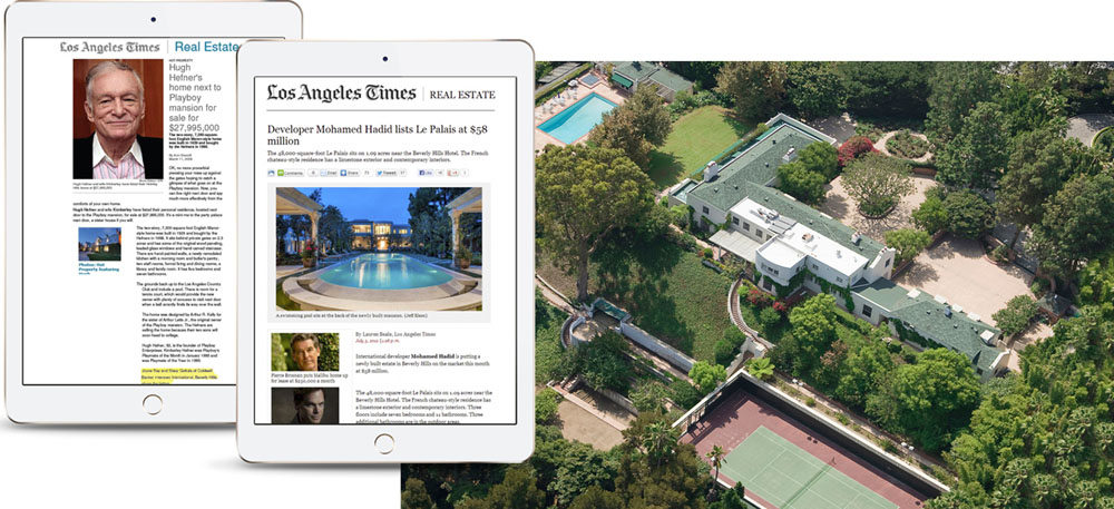 Two iPads showing samples of how a luxury property can be marketed in real estate related websites.