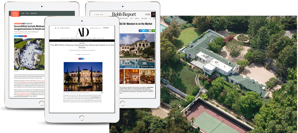 Three iPads showing samples of how a luxury property can be marketed in real estate related websites.
