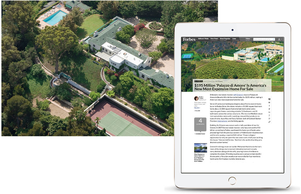 One iPad showing samples of how a luxury property can be marketed in real estate related websites.