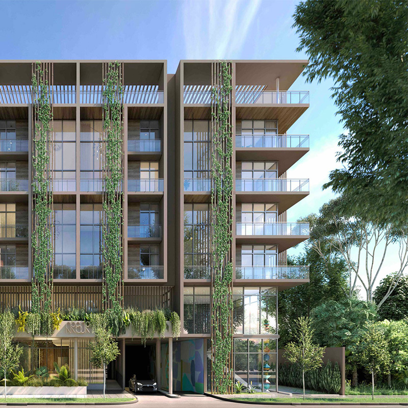 3D rendering sample of Arbor Residences Miami condo at daytime.