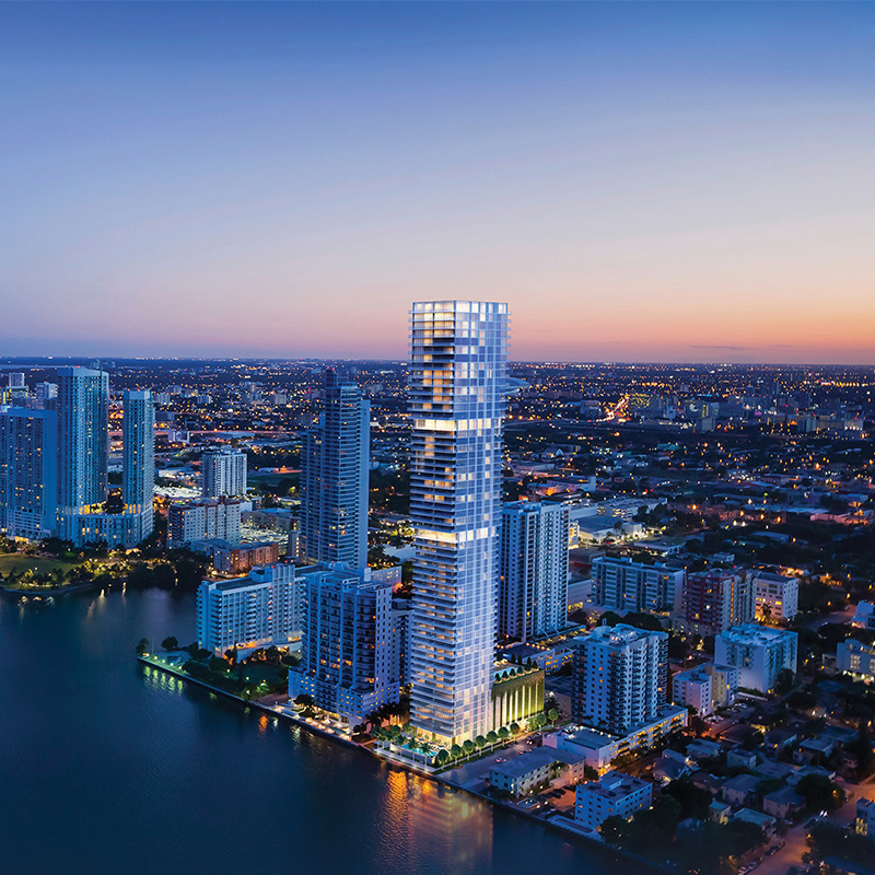 3D rendering sample of the exterior design for Missoni Baia condo at dusk.