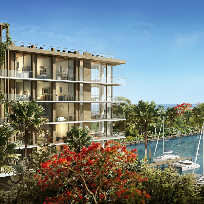 3D rendering sample of The Fairchild Coconut Grove condo.