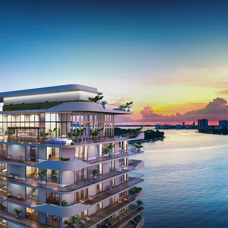 3D rendering sample of Monaco Yacht Club & Residences at dusk.