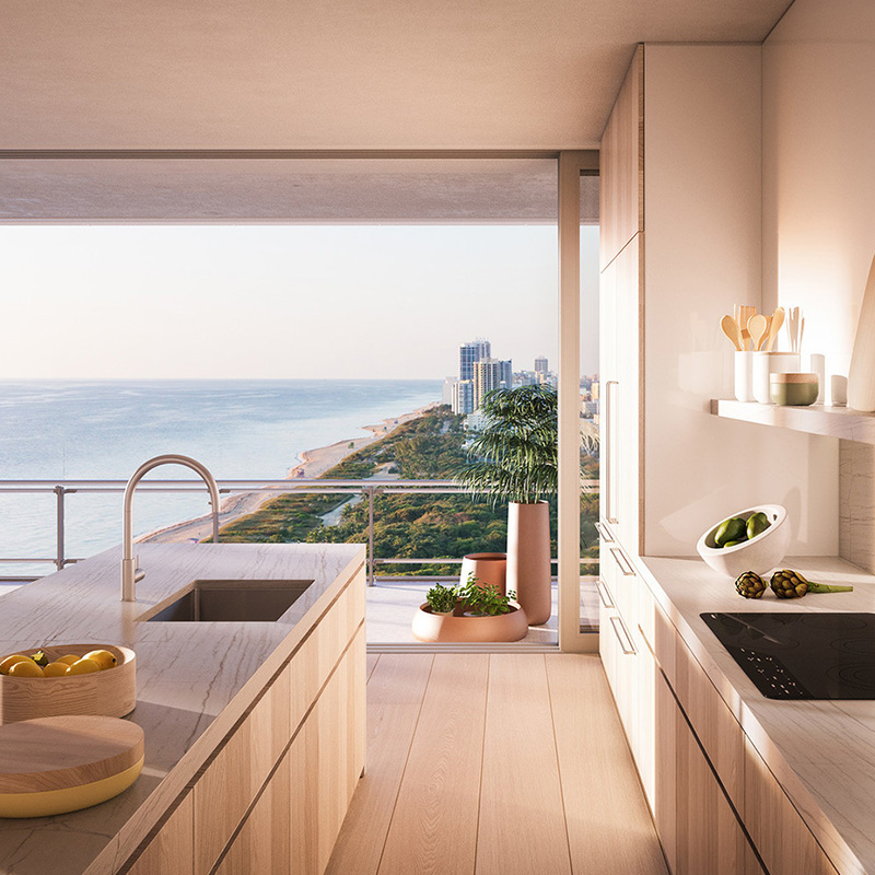 3D rendering of a modern kitchen with a view of Miami Beach in the background.