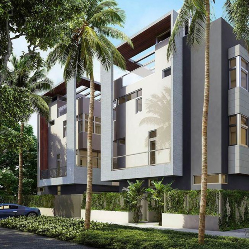 Modern townhouse building in Coconut Grove.