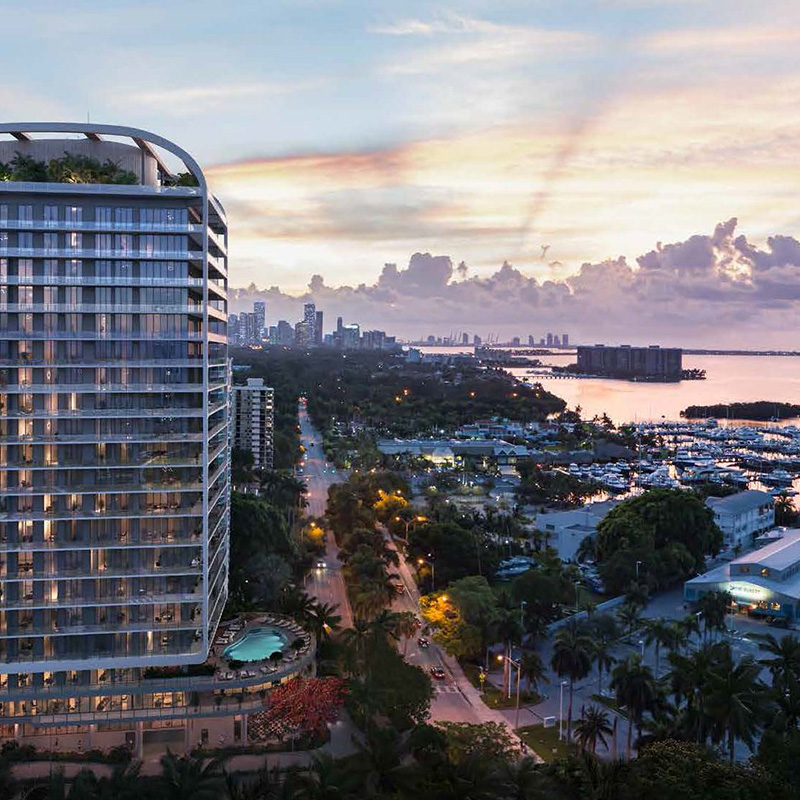 View of Coconut Grove marina accross Mr. C Residences.