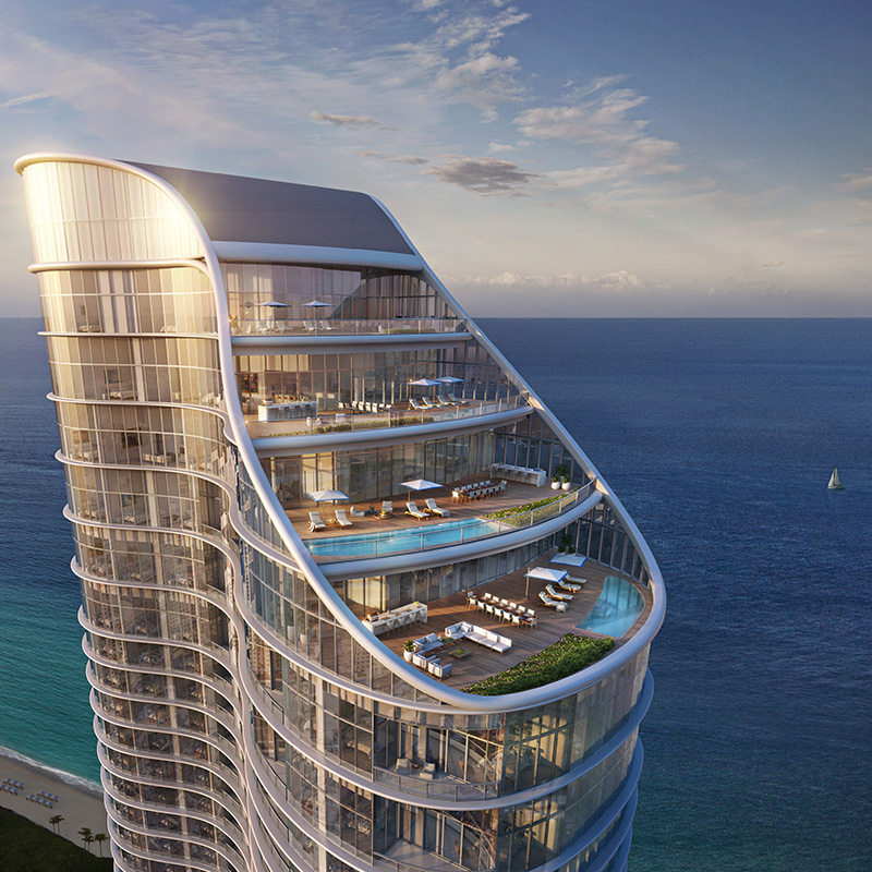 View of the penthouses at The Ritz-Carlton Sunny Isles Beach.