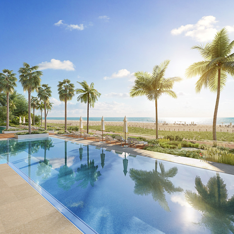 3D rendering of a pooldeck with a view of the beach in the background.