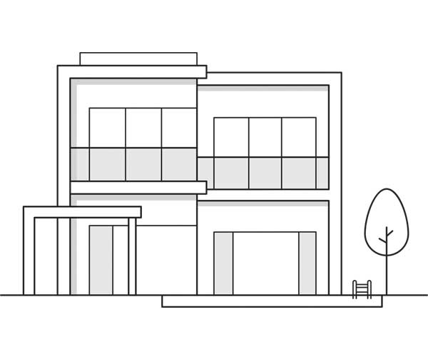 Illustration showing a single family home. Icon is linked to a search by homes section of the website.