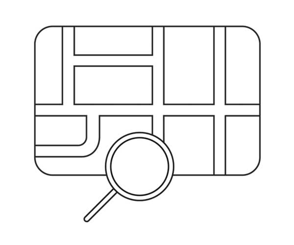 Illustration showing a magnifying glass on top of a map. Icon is linked to a search by map section of the website.