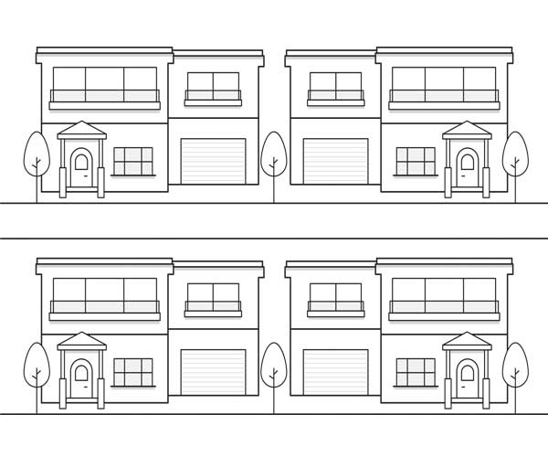 Illustration showing 4 homes. Icon is linked to a search by neighborhood section of the website.