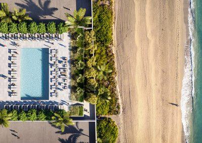3D rendering sample of the rooftop pool at 2000 Ocean condo.