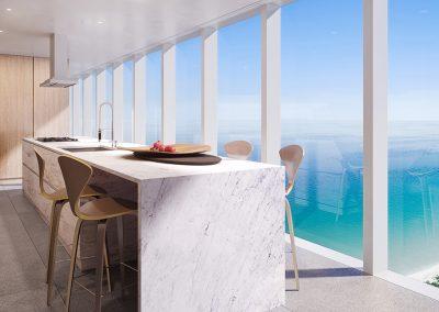 3D rendering sample of a kitchen design in 2000 Ocean condo.