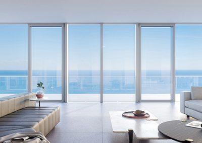 3D rendering sample of a living room design in 2000 Ocean condo.