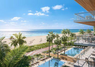 3D rendering sample of the pool deck design in 57 Ocean condo.
