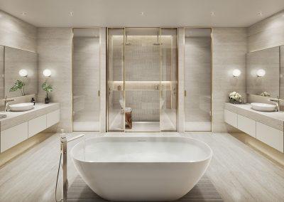 3D rendering sample of a bathroom design in 57 Ocean condo.