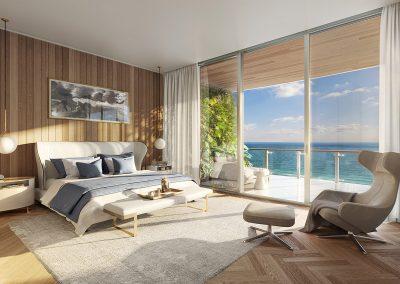 3D rendering sample of a bedroom design in 57 Ocean condo.