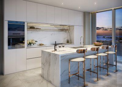 3D rendering sample of a kitchen design in 57 Ocean condo.