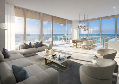 3D rendering sample of a living room and kitchen design in 57 Ocean condo.
