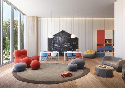 3D rendering sample of the children's playroom design in 57 Ocean condo.