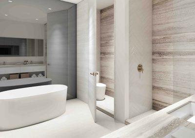 3D rendering sample of a bathroom design in Arbor Residences Miami condo.