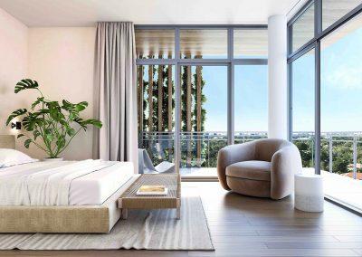 3D rendering sample of a bedroom design in Arbor Residences Miami condo.