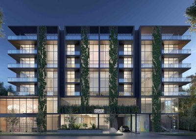 3D rendering sample of Arbor Residences Miami condo at night.