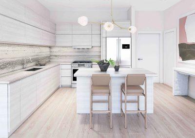 3D rendering sample of a kitchen design in Arbor Residences Miami condo.