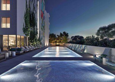 3D rendering sample of the pool deck design in Arbor Residences Miami condo at night.