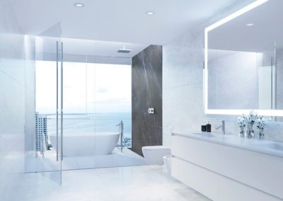 3D rendering sample of a bathroom design in Aston Martin Residences.