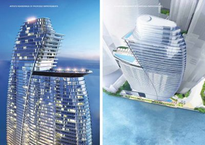 3D rendering sample of the sky pool deck design in Aston Martin Residences.