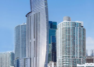 3D rendering sample of Aston Martin Residences from the Miami River.