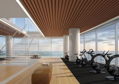 3D rendering sample of the gym design in Aston Martin Residences.