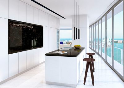 3D rendering sample of a kitchen design in Aston Martin Residences.