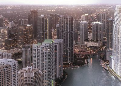 3D rendering sample of Aston Martin Residences' location in Downtown Miami.