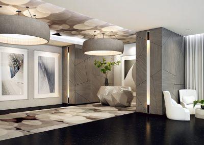 3D rendering sample of the lobby design in Aurora condo.