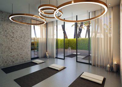 3D rendering sample of the yoga room design in Aurora condo.