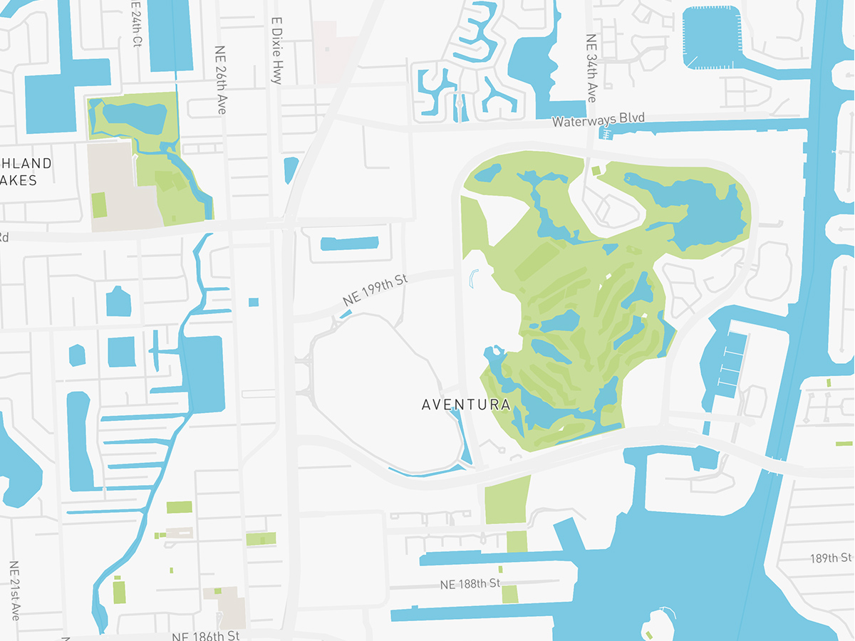 Map illustration of Aventura, Florida.