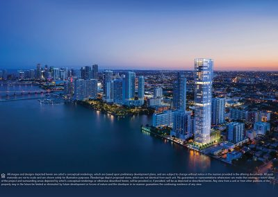 Aerial dusk photograph of Edgewater Miami showing a 3D rendering of Elysee Condo in its surroundings.