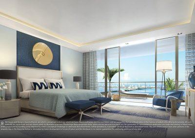 3D rendering sample of a bedroom design in Elysee condo.