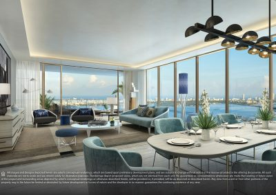 3D rendering sample of a living room and dining room design in Elysee condo.