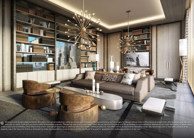 3D rendering sample of a library design in Elysee condo.