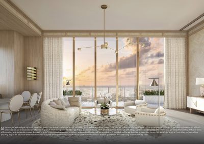 3D rendering sample of a white living room design in Elysee condo.