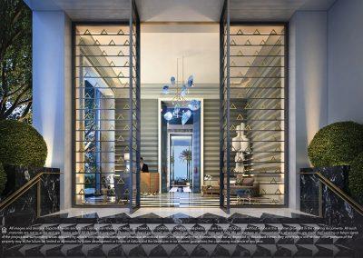 3D rendering sample of the lobby design in Elysee condo.