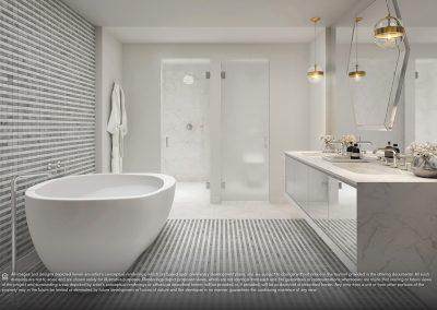 3D rendering sample of a bathroom design in Elysee condo.