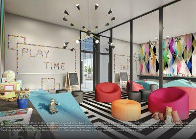 3D rendering sample of the children's playroom design in Elysee condo.