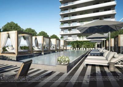 3D rendering sample of the pool deck design in Elysee condo.