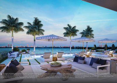 3D rendering sample of the pool cabana design in Elysee condo.