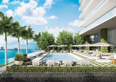 3D rendering sample of the east pool deck design in Elysee condo.