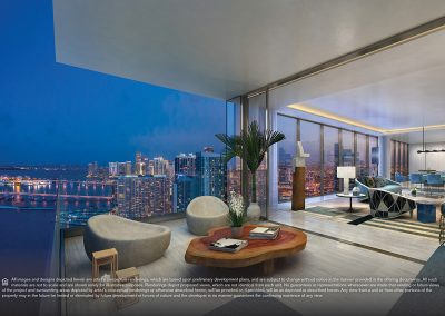3D rendering sample of another large terrace and interior of a large living room in Elysee condo.